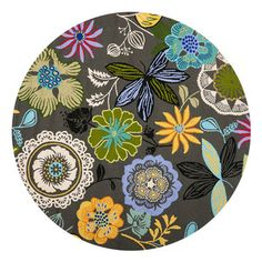 Sabine Rug 4' Round Gray now featured on Fab. - really like this rug; great colors and style!