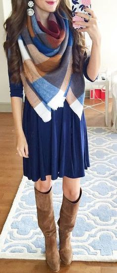 Blanket Scarf On Navy Swing Dress Fall Street Style Inspo by Southern Curls and pearls