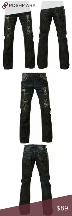 NWT Affliction ACE Distressed Straight Leg Men Jeans 32 x 32 FADED $135