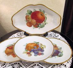 SOLD Beyer & Bock Handled Fruit Bowl / Dish and 3 Plates - Rudolstadt - Prussia in Pottery, Porcelain & Glass, Porcelain/ China, Continental | eBay