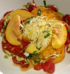 My favorite - peaches and tomatoes at Extra Virgin in Kansas City. #KC
