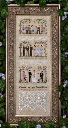 Garden Wedding Sampler - Cross Stitch Pattern by Victoria Sampler using Kreinik.