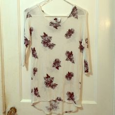 Floral white top White top, slightly sheer, floral pattern. *(MAKE AN OFFER VIA OFFER BUTTON PLEASE!!)* Divided Tops