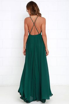 Mythical Kind of Love Dark Green Maxi Dress at Lulus.com!