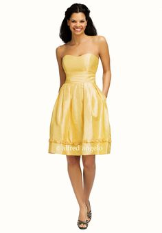 Elegant Scoop Neckline Ruffle Column Yellow Satin Knee Length Bridesmaid Dress
