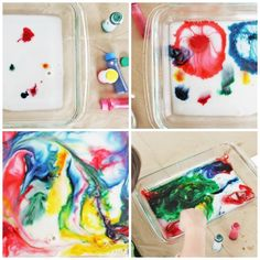 Try the amazing classic science experiment: Magic Milk! Makes marbleized paper