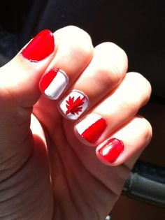 Canada Day nails :) To get the perfect maple leaf, you can actually get a small fake maple leaf tattoo and place it over your finger and add water. Holiday Nails, Holiday Fun, Hair And Nails, My Nails, Nail Manicure, Nail Polish, Beauty Nails, Hair Beauty, Canada Day