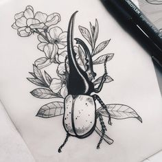 hercules beetle, new & ready to tattoo . - artist - hercules beetle new & ready to tattoo - Natur Tattoos, Kunst Tattoos, Body Art Tattoos, Sleeve Tattoos, Insect Tattoo, Bug Tattoo, Plant Sketches, Flower Sketches, Tattoo Sketches