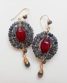 ff906ad25 Items similar to Nefertite earrings, chandelier gemstone earrings, royal  blue & red earrings, made with red agate 8 side stones and iolite faceted  rordelles ...