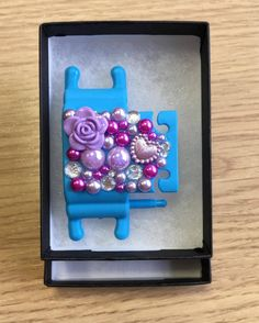 Blue Phone Buddy with a purple rose, hearts and beads. Why not create your own www.phone-buddy.co.uk Create Your Own, Create Yourself, Purple Roses, Birthday Candles, Hearts, Phone, Blue, Telephone, Purple Rose