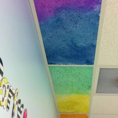 It Was A Yucky Day Outside So We Painted Out Ceiling Tiles The Kids Had Blast Because They Got To Take Their Shirts