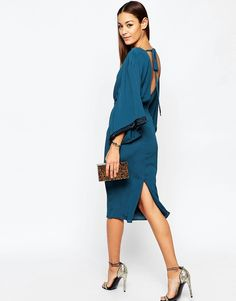 Image 4 of ASOS Embellished Trim Kimono Midi Dress
