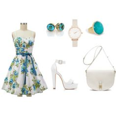 Floral White and Topaz Themed Outfit Themed Outfits, Topaz, Summer Dresses, Floral, Polyvore, Fashion, Moda, Summer Sundresses, Fashion Styles
