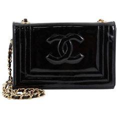 Preowned Chanel Vintage Cc Stitch Flap Bag Patent Mini (9.405 NOK) ❤ liked on Polyvore featuring bags, handbags, shoulder bags, black, shoulder strap bags, flap bag, chanel purse, vintage handbags and shoulder strap handbags