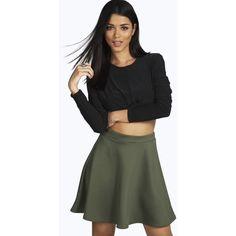 Boohoo Night Roseanna Fit and Flare Skater Skirt ($14) ❤ liked on Polyvore featuring skirts, khaki, midi skirt, flared midi skirt, circle skirt, a line midi skirt and flared skirt