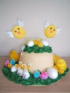 Easter Bonnet —  Bopping Chicks  (375x500) Crazy Hat Day, Crazy Hats, Crafts For Seniors, Crafts For Kids, Easter Bonnets, Easter Eggs, Easter Hat Parade, Easter Crafts, Easter Ideas