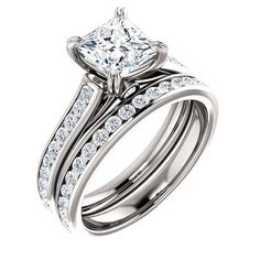 Princess Cut Dual Prong Channel Accented Cathedral Wedding Ring Set in SOLID 14K Gold