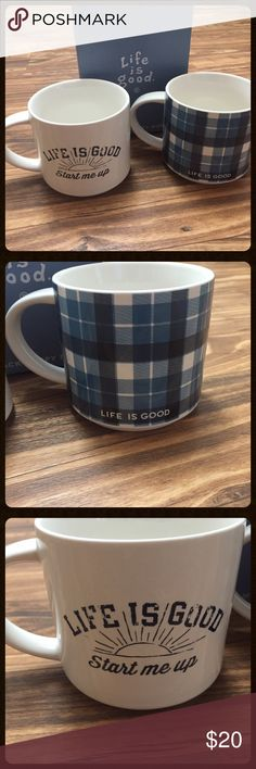 TEMP PRICE LOWERED - Bundle of Life Is Good mugs Both coffee mugs are brand new. They still have the original box so it would be perfect for a gift. Purchased from Life is Good website.    FREE gift with bundles of 2 or more  Packaged with care  No trading or low ball offers  Fast shipping Life is Good Accessories