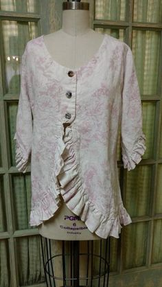 Shabby chic linen jacket in vintage inspired print. This lovely jacket is full of shabby chic details — a waterfall front, ruffle trim, and shell buttons. A lovely tie back make this jacket very flattering. Made with love in the USA Shabby Chic Outfits, Shabby Chic Mode, Estilo Shabby Chic, Shabby Chic Living Room, Shabby Chic Style, Shabby Chic Furniture, Shabby Chic Decor, Shabby Chic Fashion, Shabby Chic Clothing