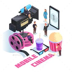 Buy Mobile Cinema Isometric Concept by macrovector on GraphicRiver. Mobile cinema isometric concept on white background with staff, smart phone, camcorder, film reel, snacks vector illu. Whale Illustration, Android, All Is Well, White Stock Image, Iconic Movies, Vector Photo, Material Design, Flat, Filmmaking