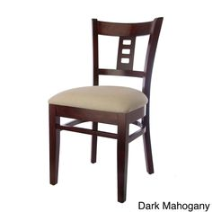 Constructed with solid beech wood finished in natural or mahogany and complemented by a leatherette seat, this dining chair set is sure to add style to your home. The unique design features a film strip back.