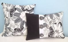 This listing is for a set of two coordinating pillow covers made of 100% cotton HGTV decorator fabric. The 12x16 cover is sewn with a black,