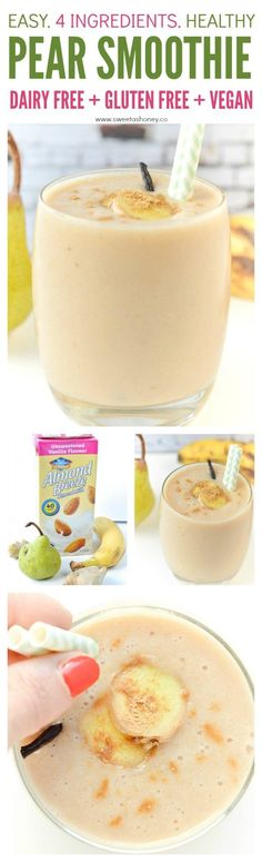Pear Smoothie with Vanilla Almond Milk & Ginger