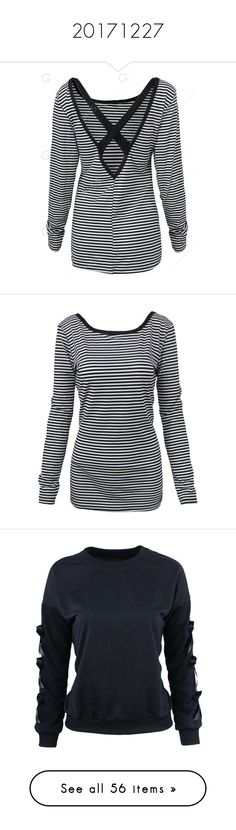 """""""20171227"""" by gamiss ❤ liked on Polyvore featuring tops, t-shirts, striped tees, patterned tops, print tees, striped top, print t shirts, striped t shirt, surplice back top and mixed print top"""