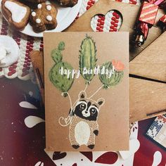 Raccoon postcard  Happy Birthday Birthday Card, открытка с енотом