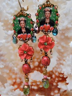 CORAL AND GREEN FRIDA WITH ROSES    RESERVED FOR WENDY        An amazing and ultra colourful pair of earrings featuring mirror images of a
