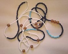 Long Beaded Necklace in light blue, black, white and brown. Double, triple or even 4 row necklace in beautiful and easy colors! by Bohemicin on Etsy
