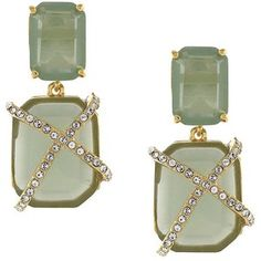 Louise Et Cie Rectangular Stone and Glitz Cage Drop Earrings