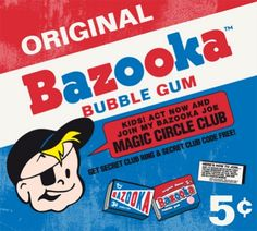 Original Bazooka Joe package If you are over you probably remember Bazooka Joe bubble gum from when you were a kid. They were pink squares that came with a. Retro Candy, Vintage Candy, 1950s Candy, My Childhood Memories, Sweet Memories, Childhood Friends, School Memories, Nostalgia, Sweet Sixteen
