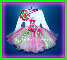 Thanks you for Visiting Just For Fun Tutu Boutique!    This tri-color tutu skirt is lovely hand made designed along with a flower headband I added