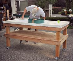 DIY Big Green Egg Table With Concrete Top