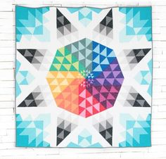 Solar Flare Quilt Kit by Janice Zeller Ryan featuring Boundless Solids Fabric Modern Quilt Patterns, Quilt Block Patterns, Quilt Blocks, Modern Quilting, Quilting Classes, Quilting Projects, Quilting Ideas, Midnight Quilt Show, Bright Quilts