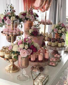 Dessert Table Set Up Wedding ; Dessert Table Set Up - bridal shower decorations Wedding Desserts, Wedding Cakes, Wedding Decorations, Elegant Desserts, Easy Desserts, Sweet Table Decorations, Wedding Shower Centerpieces, 18 Birthday Party Decorations, Wedding Gifts