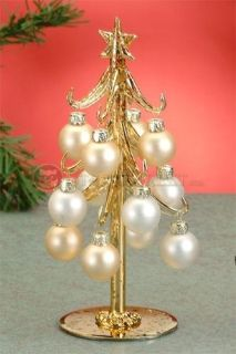 "8"" Height Gold Xmas Tree with Faux Ivory Ornaments: SS-UG-KW-0977 #StealStreet. Christmas, Winter, December, Holidays, Warmth, Golden, Pretty, Chic, Decor."