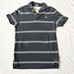 Abercrombie & Fitch Mens XL Muscle Blue Striped Polo S/S Shirt Distressed #AbercrombieFitch #PoloRugby #ebaysellerdennis7388 #ebaystoreabestbra #ebayreseller #holidaygifts