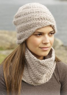 "Knitted DROPS hat and neck warmer with spiral pattern in ""Eskimo"". Design bonnet Whirlwind Cowl pattern by DROPS design Drops Design, Knit Or Crochet, Crochet Hats, Crochet Neck Warmer, Knitting Accessories, Free Knitting, Knitting And Crocheting, Knitting Looms, Knitting Scarves"