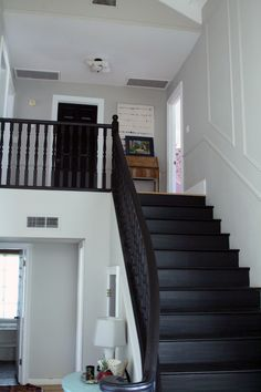 white and black foyer