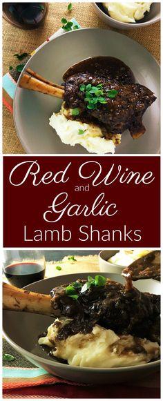 Red Wine & Garlic Lamb Shanks - fall off the bone lamb smothered in garlic & red wine sauce