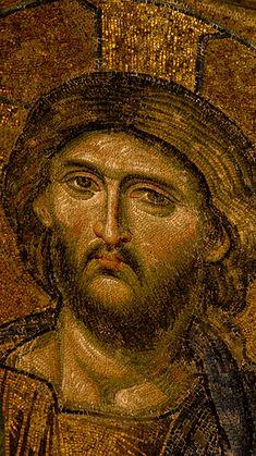 Close-up of Christ mosaic in Hagia Sophia, Istanbul, Turkey