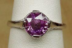 Antique 1.07ct Natural Unheated Purple Pink Sapphire 14k White GoldArt Deco Style 1920 Alternative Engagement Ring by DiamondAddiction on Etsy
