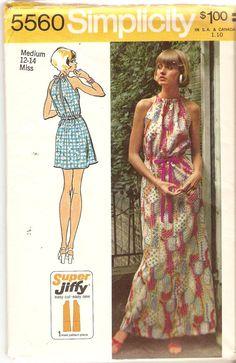 Halter Dress Pattern Back Slit Bust 34 36 Simple by CherryCorners, $14.00