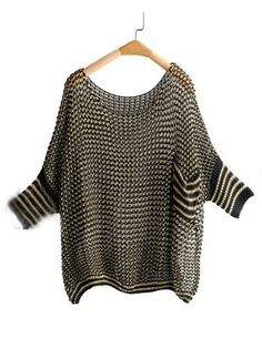 Black Metallic Yarn Open Ribbon Knit Batwing Sleeve Jumper