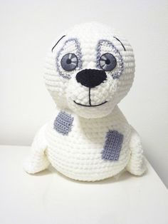 Crochet Seal Pattern Amigurumi PDF Cute White Soft Animal Stuffed Toy With Patches By SKatieDes