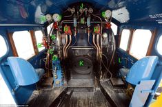 Stopped in its tracks: At the controls within the cabin of the LNER Class 4 Mallard...