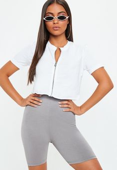 6cda4e1386e Missguided - White Zip Front Short Sleeve Crop Top Casual Wear Women