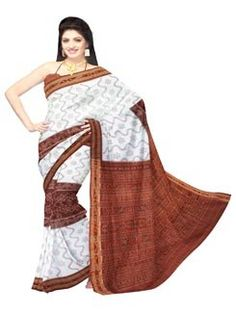 UNM6183- Divine corporate white and brown Sambalpuri mercerized sico saree